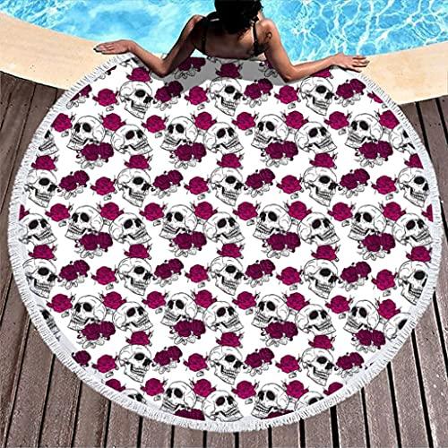 Ktewqmp Toalla de playa redonda, diseño de calavera y rosas, impermeable, color blanco, 150 cm