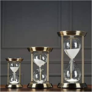 HUIJUNWENTI Metal hourglass timer decoration, can be timed 15/30/60 minutes, office decoration, home decorations Living room decoration (UnitCount : L- 60min)