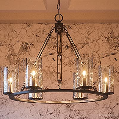 """Luxury Industrial Chandelier, Medium Size: 20""""H x 25""""W, with Western Style Elements, Rectangular Link Design, Elegant Estate Bronze Finish and Seeded Glass, UQL2130 by Urban Ambiance"""