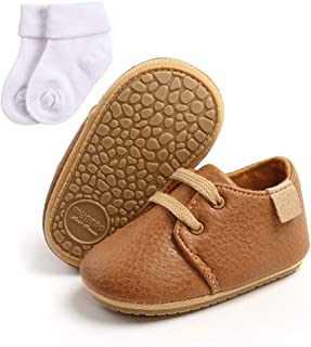 Baby Boy Shoes, Toddler Boy Girl Anti-Slip PU Sneakers Shoes Newborn First Walking Shoes with Cotton Socks for 0-18Months