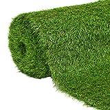 vidaXL Kunstrasen UV-beständig Rasenteppich Fertigrasen Gras Teppich Grasteppich Kunstrasenteppich Terrasse Garten Balkon 1x15m 40mm Grün
