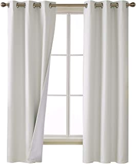 Deconovo 100 Percent Blackout Curtains with 3 Pass Noise Reduction Curtain Thermal Insulated Coating Faux Linen Room Darkening Curtains for Kids Room 38 x 72 Inch Length Set of 2 Panels White