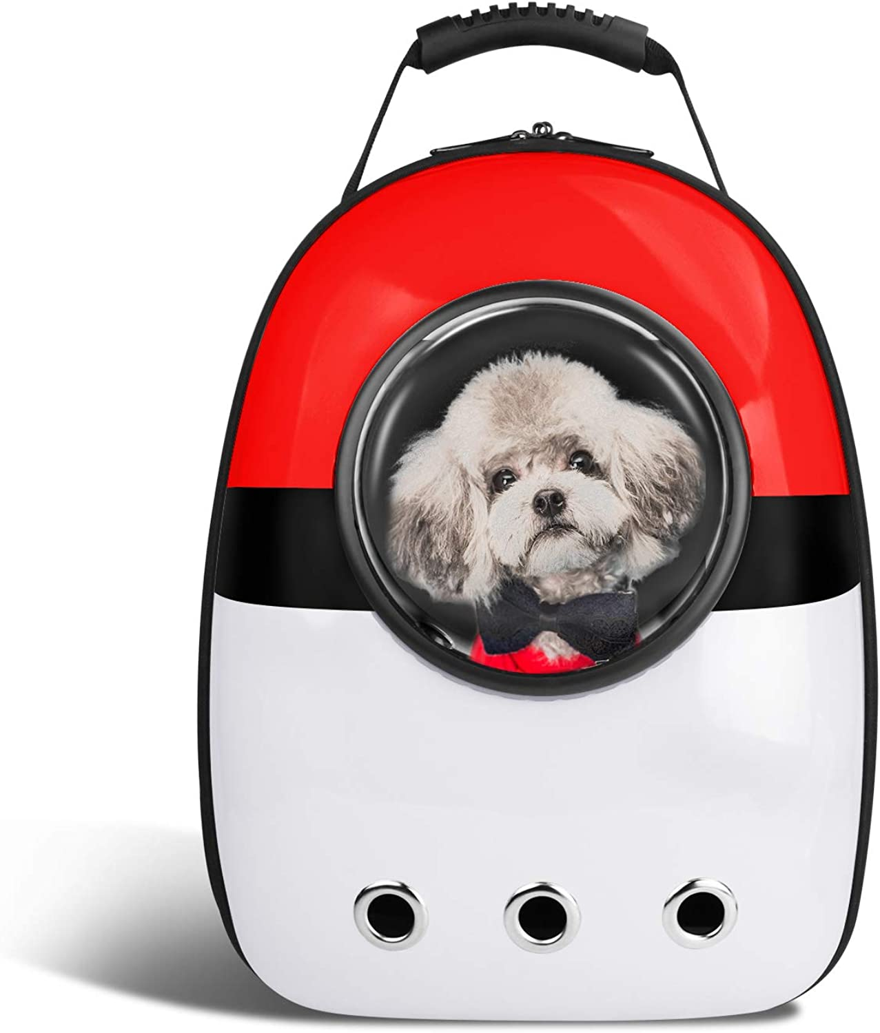 Blitzwolf Anzone Pet Portable Space Capsule Carrier Backpack,Pet Bubble Window Traveller Knapsack Waterproof Lightweight Handbag for Cats Small Dogs & Petite AnimalsRed&White