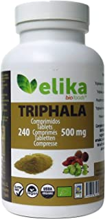 BIO Triphala Elikafoods® ORGÁNICA. 240 comprimidos de 500 mg. Limpia y desintoxica el colon. Contra el estreñimiento. Natu...