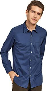 DJ&C Men's Solid Regular Fit Cotton Casual Shirt