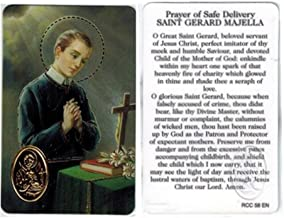 Prayer for Safe Delivery Saint Gerard Majella Blessed Laminated Italian Prayer Card with Gold Heat Sealed Medal