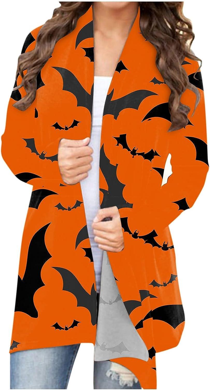 Goldweather Women Halloween Long Sleeve Open Front Cardigan Animal Cat Pumpkin Print Cardigans Coat Outwear Blouses Tops