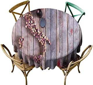 W Machine Sky Wrinkle Free Tablecloths Winery,Rustic Wood Corks Map Italy Diameter 54