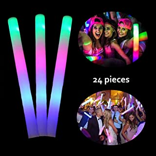 Lifbeier 24 PCS LED Glow Foam Sticks, Light-up Toys 3 Modes RGB Flashing Glow in the Dark Party Supplies for Kids, Birthday, Wedding, Halloween