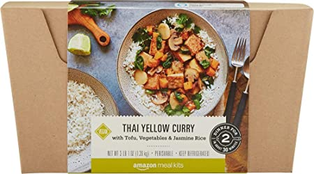 Amazon Meal Kits, Thai Yellow Curry with Tofu, Vegetables & Jasmine Rice, Serves 2