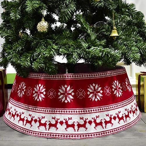 Qianren Falda de árbol de Navidad a cuadros/Falda de árbol de reno Base de la cubierta del soporte Feliz árbol de Navidad Diámetro del cuello 30 pulgadas