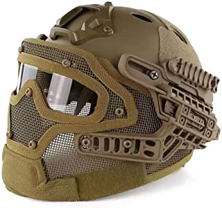 Image of ZJDU Tactical Fast Helmet & Protect Earfoldable with Foldable Half Face Mesh Mask and Goggles for Airsoft Paintball Hunting Shooting Outdoor Sports CS Game Set,F