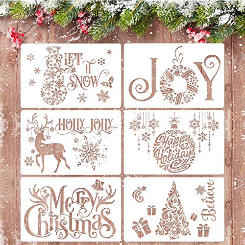 Whaline 6Pcs Christmas Stencils Template - Reusable Plastic Craft Xmas Painting Drawing Stencils Plastic Words Templates DIY Art Craft Home Decor, Merry Christmas Tree Deer Snowflake Gift (White)
