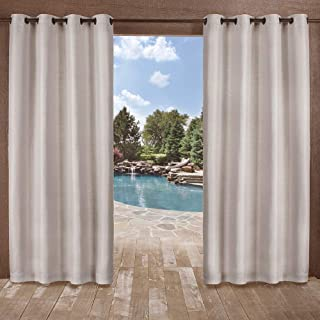 Exclusive Home Curtains Delano Heavyweight Textured Indoor/Outdoor Window Curtain Panel Pair with Grommet Top, 54x96, Silver, 2 Piece