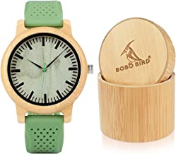 BOBO BIRD Mens Womens 44mm Neutral Bamboo Wooden Watch Unisex Japan Analog Quartz Green Silicone Strap Sports Casual Watches with Gift Box