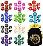 CiaraQ Polyhedral Dice Set with a Big Black Drawstring Pouch, 10 Complete Dice Sets(70 Pieces) of D4 D6 D8 D10 D% D12 D20 Compatible with Dungeons and Dragons DND RPG MTG Table Games