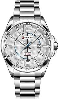 CURREN Men Watches Quartz Water Resistant Stainless Steel Watchband Wristwatches with Calendar 8271 (Silver)
