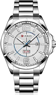CURREN Men Watches Quartz Water Resistant Stainless Steel Watchband Wristwatches with Calendar 8271 (Silver)