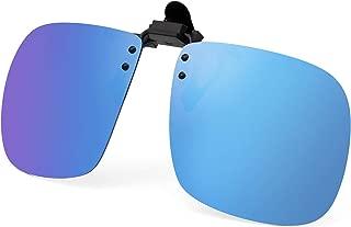 JM Polarized Clip on Sunglasses Frameless Flip Up Square Style Lens for Prescription Glasses