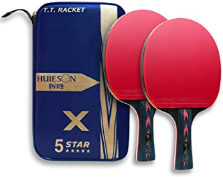 5 Star Professional Ping Pong Paddle Advanced Training Table Tennis Rackets/Paddles/Bats with Carry Case (2PCS)