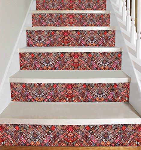peler et coller - décalcomanies de contremarche d'escalier - Style indien de patchwork - paquet de 5