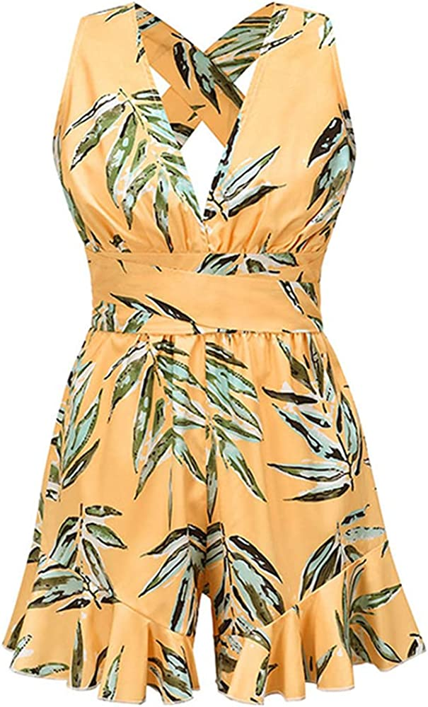 NP Women's Summer Floral Print Bow Tie Jumpsuit Casual Slim Sleeveless