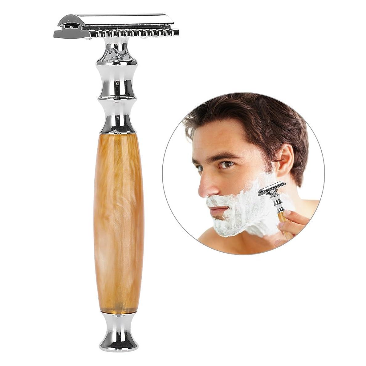 陰気いつバリアメンズシェービング、両面安全剃刀、人間工学に基づいたハンドル、ステンレス製のひげ飾りテンプレート