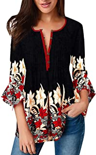 Elegant Blouse for Women,👍ONLY TOP👍 Women Casual Button Knot Three Quarter Sleeve Boho Flower Swing Tunic Top
