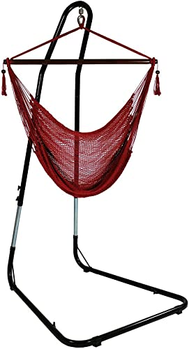 discount Sunnydaze Hanging Rope Hammock Chair Swing with Stand - Caribbean lowest Style discount Extra Large Hanging Chair with Adjustable Stand - 300 Pound Capacity - Red outlet sale