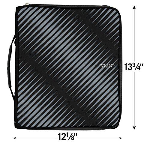 Five Star Zipper Binder, 2 Inch 3 Ring Binder, 6-Pocket Expanding File, Durable, Black (72536) Photo #6