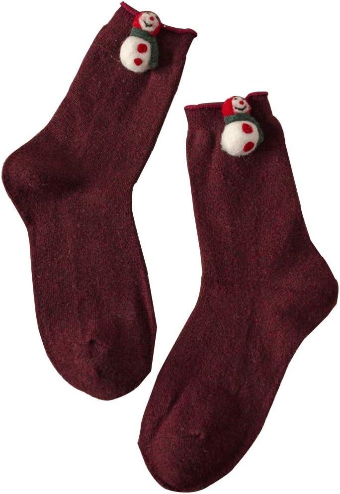 Calcetines De Lana Navideños, Bonitos Calcetines Rizados para Mujer para Otoño E Invierno, Calcetines Tridimensionales De Dibujos Animados Regalos Creativos (Color : Red Wine)
