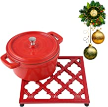 Square Cast Iron Trivet Red Metal Trivets for Kitchen Dining