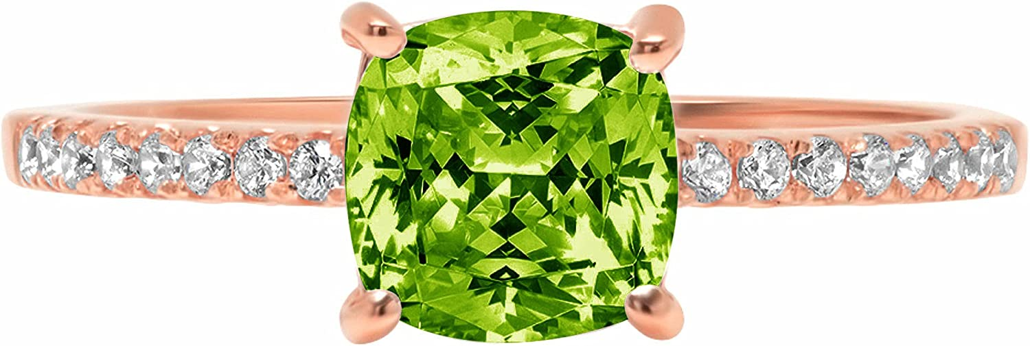 1.66ct Brilliant Cushion Cut Solitaire Accent Genuine Flawless Natural Green Peridot Gemstone Engagement Promise Anniversary Bridal Wedding Ring Solid 18K Rose Gold
