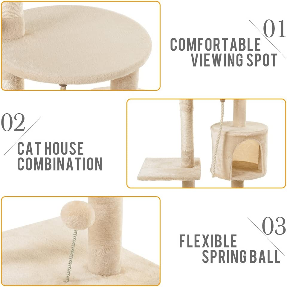 110cm Cat Climbing Tower with Cat Cave Cat Furniture Multi-level Cat Kitten Activity Centre with Dangling Toy Cat Condo Brown//Beige Fish Pattern Famgizmo Cat Tree with Sisal Scratching Posts
