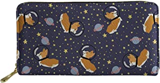 SANNOVO Pu Leather Purses for Women Soft Shopping Wallet Cute Dogs Printed Clutch