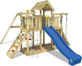 WICKEY Parque infantil Smart Twister Torre de escalada con columpio y tobogán, techo de madera y cajón de arena, tobogán azul