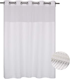 Waffle Weave Fabric Shower Curtain No Hooks Needed, Cotton Blend, With Span-in Repalcement Liner - Hotel Grade, Water Repellent, Machine Washable - 71x74, White