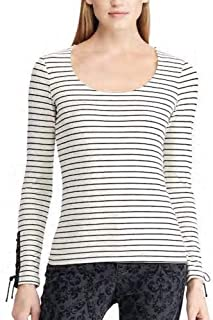 Chaps Fitted Top Lace up Leather Sleeves - Cream Black Stripes M