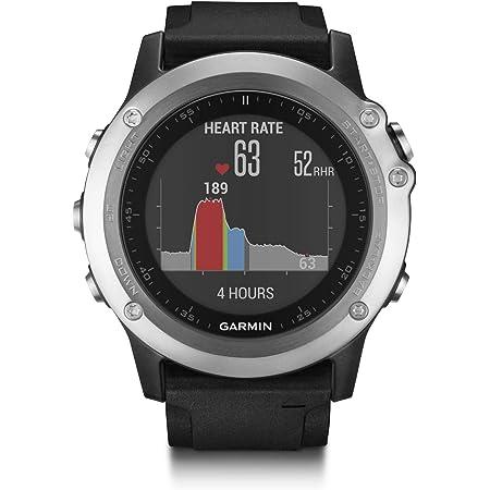 Garmin Fēnix 3 Silver HR Cardio Poignet - Montre GPS Multisports Outdoor - Bracelet Silicone Noir