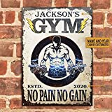 Personalized Gym No Pain No Gain Metal Sign Funny Gift for Men Women Friends Outdoor Living Rustic Decor