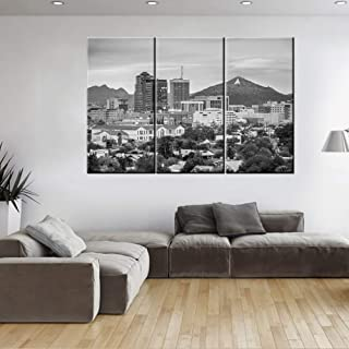 Black and White City Landscape Wall Art Tucson, Arizona, USA Downtown Skyline with Sentinel Peak Canvas Prints Picture 3 Piece Modern Romantic Themed Artwork for Bedroom Bathroom Photo Wall Display