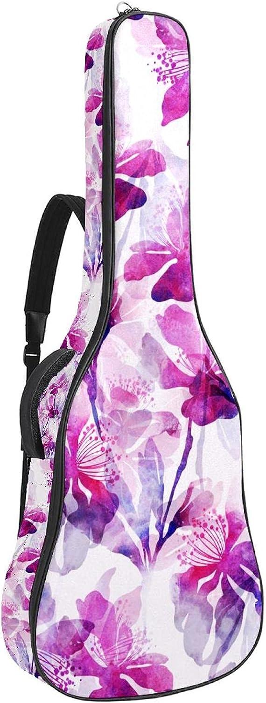 Bolsa de guitarra acústica acolchada gruesa impermeable doble correa ajustable para el hombro Guitarras bolsa de concierto flores hojas Sakura cereza japonesa 42,8 x 42,8 x 11,9 cm