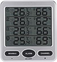 ACAMPTAR Medidor de Temperatura y Humedad InaláMbrico/LCD InaláMbrico de 8 Canales para Interiores y Exteriores con Cuatro Sensores Remotos FuncióN de Alarma Digital 433Mhz
