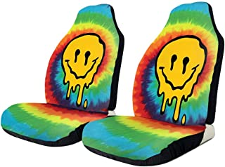 NA-1 Tie Dye Acid Trippy Smiley Face Old Skool Rave Car Seat Cover Protector Cushion Premium Covers for Women, Men, Girls, Boys Fits Most Cars, Truck, SUV Or Van