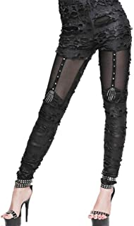 Kulee Punk Women Gothic Leggings Pants Riveted Knee Skull Skeleton Decoration Co