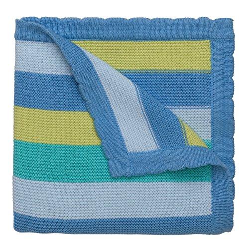 Elegant Baby 100% Cotton Sweater Knit Blanket, Blueberry Stripes, 30 X 40