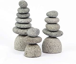 Natural River Mini Rock Cairn Stone Stacked Zen Garden Decoration Stone Set of 3 with Gift Box