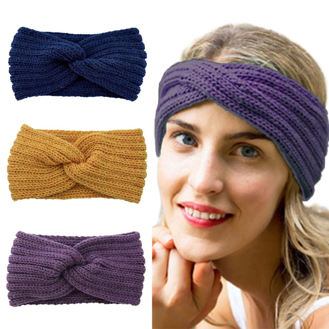 Edary Beanie Headband Fuzzy Winter Headwrap Cable Knitted Hair Bands Hair Accessory for Women and Girls. (Yellow&Dark Blue&Dark Purple)