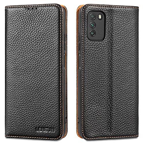 LENSUN Echtleder Hülle für Xiaomi Poco M3, Leder Handyhülle mit Magnetverschluss Kartenfach Lederhülle Handytasche für Xiaomi Poco M3 (6,53