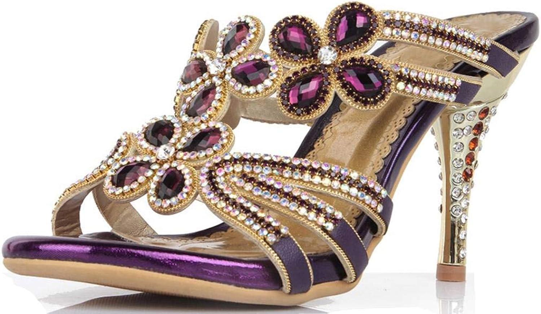 YooPrettyz Women Peep Toe Rhinestone Studded Wedding Sandal Leather Sandals Evening High Heels